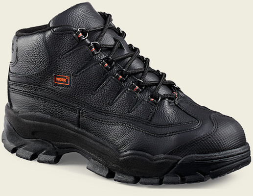 Men's Steel toe full grain black leather shoe with removable polyurethane footbed oil slip resistant rubber falcon sole Ansi C/75 approved safety toe and electrical hazard resistant Red Wing shoes 5501 in medium, wide, or double wide - Redwing WORX 5501 - Redwing Boots